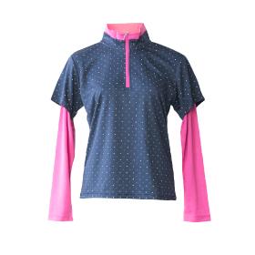 フェイクレイヤードハーフZIP長袖Tシャツ